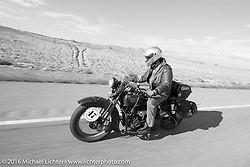 Richard Duda riding his 1924 Henderson Deluxe on Interstate-70 near Grand Junction, Colorado during Stage 10 (278 miles) of the Motorcycle Cannonball Cross-Country Endurance Run, which on this day ran from Golden to Grand Junction, CO., USA. Monday, September 15, 2014.  Photography ©2014 Michael Lichter.