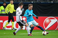 TRONDHEIM, NORWAY - NOVEMBER 02, 2017. UEFA Europa League, round 4: Rosenborg BK (Norway) 1-1 Zenit St Petersburg (Russia). Rosenborg's Pal Andre Helland (L) and Zenit St Petersburg's Domenico Criscito (R).