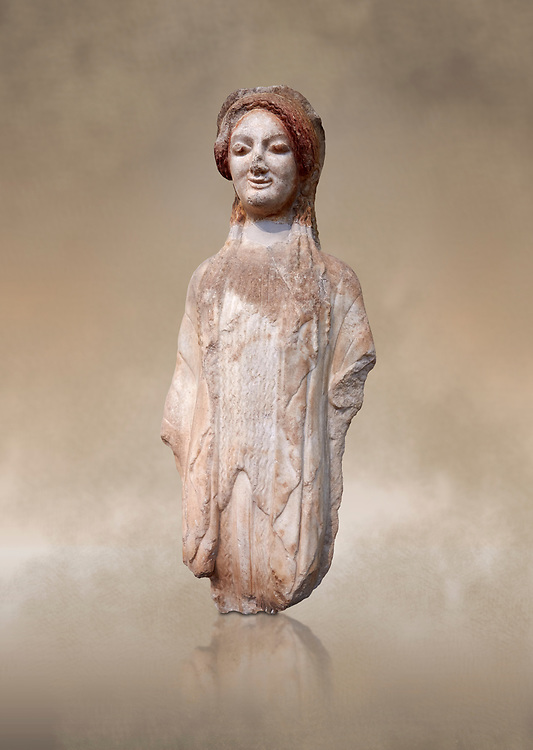 Ancient Greek Archaic statuette of a  kore, found in the Acropolis Athens, 490 BC, Athens National Archaeological Museum. Cat no BE 16/2009.<br /> <br /> The kore statues hair is adorned with a wreath and her ears by round disk earings. Traces of paint can be found on her garments and jewellery. Red paint was found on her hair and eyes, Acropolis Museum Cat no 687 .<br /> <br /> If you prefer to buy from our ALAMY STOCK LIBRARY page at https://www.alamy.com/portfolio/paul-williams-funkystock/greco-roman-sculptures.html . Type -    Athens    - into LOWER SEARCH WITHIN GALLERY box - Refine search by adding a subject, place, background colour, etc.<br /> <br /> Visit our ROMAN WORLD PHOTO COLLECTIONS for more photos to download or buy as wall art prints https://funkystock.photoshelter.com/gallery-collection/The-Romans-Art-Artefacts-Antiquities-Historic-Sites-Pictures-Images/C0000r2uLJJo9_s0