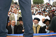 Israel, Jerusalem Moshe Katzav, Israeli president and the two chief rabbis of Israel at SIGD, the Ethiopian main religious festival is held annually in Jerusalem and expresses their yearning for Zion and their gratitude for the Torah. November 2004