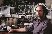 Human Genome Project: Dr Jonathan Beckwith, American biologist. As a respected scientist working with genetic engineering technology, Beckwith is concerned about the social & legal implications of human genetic screening, an option that might arise from the successful completion of the human genome project - an ambitious plan to make a complete biochemical survey of every gene expressed on all the 23 pairs of human chromosomes. MODEL RELEASED (1989).