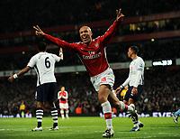 Mikael Silvestre Celebrates Scoring Goal<br /> Arsenal 2008/09<br /> Arsenal V Tottenham Hotspur 29/10/08<br /> The Premier League<br /> Photo Robin Parker Fotosports International
