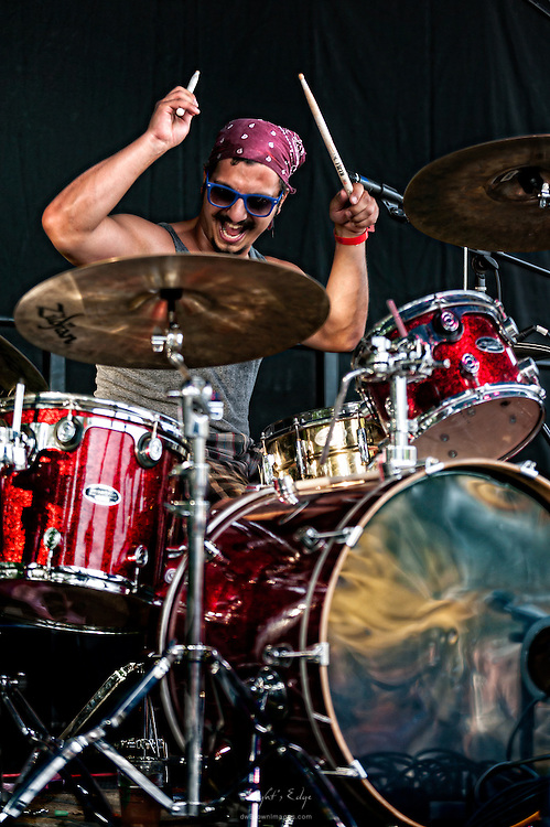 Dingo Sanchez of Vital Stats knocking it out on drums during their performance at Hollystock 15 in Mount Holly, NJ.