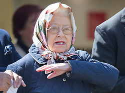 © Licensed to London News Pictures. 10/05/2017. Windsor, UK. Queen Elizabeth II gestures as she watches a competition at the Royal Windsor Horse Show. The five day equestrian event takes place in the grounds of Windsor Castle. Photo credit: Peter Macdiarmid/LNP