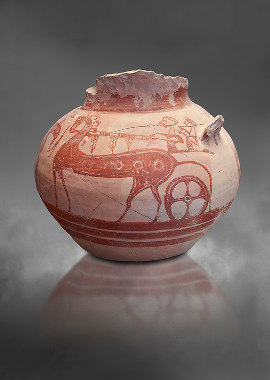 Mycenaean pictorial Krater decorated with a horse and chariot, Tiryns Acropolis - 12-14th cent BC. National Archaeological Museum Athens. Cat No 115. Grey art Background <br /> <br /> A large Mycenaean Krate decorated with a two horse chariot and two riders. The style is typical of the painting style known as ;painter of the shield bearers' of the Tiryns workshop producing pictorial pottery from the late 13th to 12th century BC .<br /> <br /> If you prefer to buy from our ALAMY PHOTO LIBRARY  Collection visit : https://www.alamy.com/portfolio/paul-williams-funkystock/mycenaean-art-artefacts.html . Type -   Athens    - into the LOWER SEARCH WITHIN GALLERY box. Refine search by adding background colour, place, museum etc<br /> <br /> Visit our MYCENAEN ART PHOTO COLLECTIONS for more photos to download  as wall art prints https://funkystock.photoshelter.com/gallery-collection/Pictures-Images-of-Ancient-Mycenaean-Art-Artefacts-Archaeology-Sites/C0000xRC5WLQcbhQ