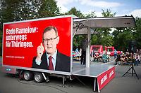 DEU, Deutschland, Germany, Stadtroda, 23.08.2014:<br />Der Fraktionsvorsitzende der Partei DIE LINKE in Thueringen, Bodo Ramelow, während einer Rede auf dem Trailer bei einer Wahlveranstaltung der Linkspartei in Stadtroda.