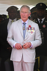The Prince of Wales attends a service of commemoration at the Abuja Memorial, Nigerian National Military Cemetery, in Abuja Nigeria, on the final day of his trip to west Africa with the Duchess of Cornwall.