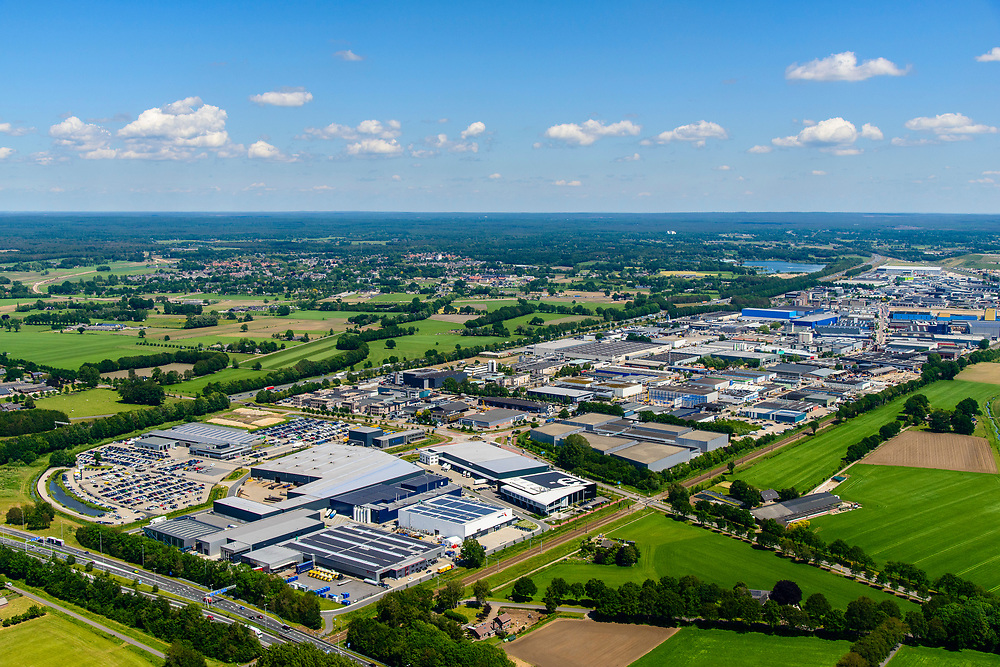 Nederland, Gelderland, Gemeente Barneveld, 29-05-2019; Bedrijventerrein Harselaar. Gelegen aan de A1, tussen Barneveld en Voorthuizen.<br /> The Harselaar business park.<br /> luchtfoto (toeslag op standard tarieven);<br /> aerial photo (additional fee required);<br /> copyright foto/photo Siebe Swart