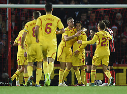 Liverpool players celebrate Lazar Markovic's goal against AFC Bournemouth - Photo mandatory by-line: Paul Knight/JMP - Mobile: 07966 386802 - 17/12/2014 - SPORT - Football - Bournemouth - Goldsands Stadium - AFC Bournemouth v Liverpool - Capital One Cup
