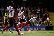 Dame N'Doye of Sunderland © scores a 'goal 'which is disallowed due to offside. Barclays Premier league match, Watford v Sunderland at Vicarage Road in Watford, London on Sunday 15th May 2016.<br /> pic by Steffan Bowen, Andrew Orchard sports photography.