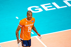 Nimir Abdelaziz of Netherlands celebrate during the CEV Eurovolley 2021 Qualifiers between Sweden and Netherlands at Topsporthall Omnisport on May 14, 2021 in Apeldoorn, Netherlands