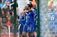 Vicente Iborra of Leicester City (c) celebrates with his teammates after scoring his teams 1st goal. Premier league match, Stoke City v Leicester City at the Bet365 Stadium in Stoke on Trent, Staffs on Saturday 4th November 2017.<br /> pic by Chris Stading, Andrew Orchard sports photography.