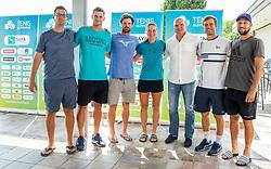 Miha Mlakar,  Blaz Rola, Blaz Kavcic, Ziva Falkner, Đenio Zadković, Matic Spec and Tom Kocevar Desman during press conference of Tenis Slovenija, on August 11, 2020 in Portoroz / Portorose, Slovenia. Photo by Vid Ponikvar / Sportida