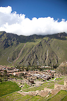 Scenic image of the town of Ollantaytambo in the Sacred Valley, Peru.
