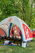 Plovdiv, Bulgaria, 9th May 2019, FISA, Rowing World Cup 1,  Athletes, NED, warm up and stretch, in Team Tent