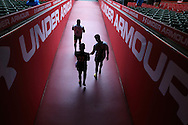 Wales players walk out of the tunnel to go pitchside. Wales Rugby captains run, ahead of tomorrows RBS Six nations match against England. Principality Stadium, Cardiff, South Wales on Friday 10th Feb 2017.   pic by  Andrew Orchard, Andrew Orchard sports photography.