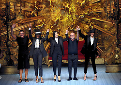 Male Fashion, Parade of Dolce and Gabbana, Domenico Dolce, Stefano Gabbana, Naomi Campbell and Monica Bellucci, Marpessa (Maurizio Maule, Milan - 2018-06-16) ps the photo is usable in respect of the context in which it was taken , and without the defamatory intent of the decorum of the people represented