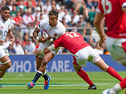 Twickenham, Surrey, World Cup, Sunday, 11.08.19, Englands, Antony WATSON, tackled byHadliegh PARKES,  playing in the Warm up match, Quilter International, England vs Wales, at the RFU Stadium  [© Peter SPURRIER/Intersport Image]<br /> <br /> 14:04:27