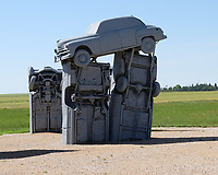 ALIANCE, Nebraska - One of the vehicles at Carhenge, whch consists of 39 automobiles arranged in a circle measuring about 96 feet (29 m) in diameter. It is is a replica of England's Stonehenge, using cars all covered with gray spray paint, located near the city of Alliance, Nebraska, in the High Plains region of the United States. It was created by by Jim Reinders as a memorial to his father. PHOTO: Ryan Eyer