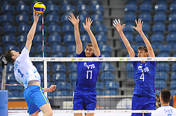 Toncek Stern, Maxim Mikhaylov, Artem Volvich during the European Championship game Russia - Slovenia on August 26, 2017 in Krakow, Poland. (Photo by Krzysztof Porebski / Press Focus)
