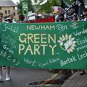 About a hundred local march to Stop the Silvertown tunnel with speaker Sian Berry of the Green Party on 5th May 2021 in London.