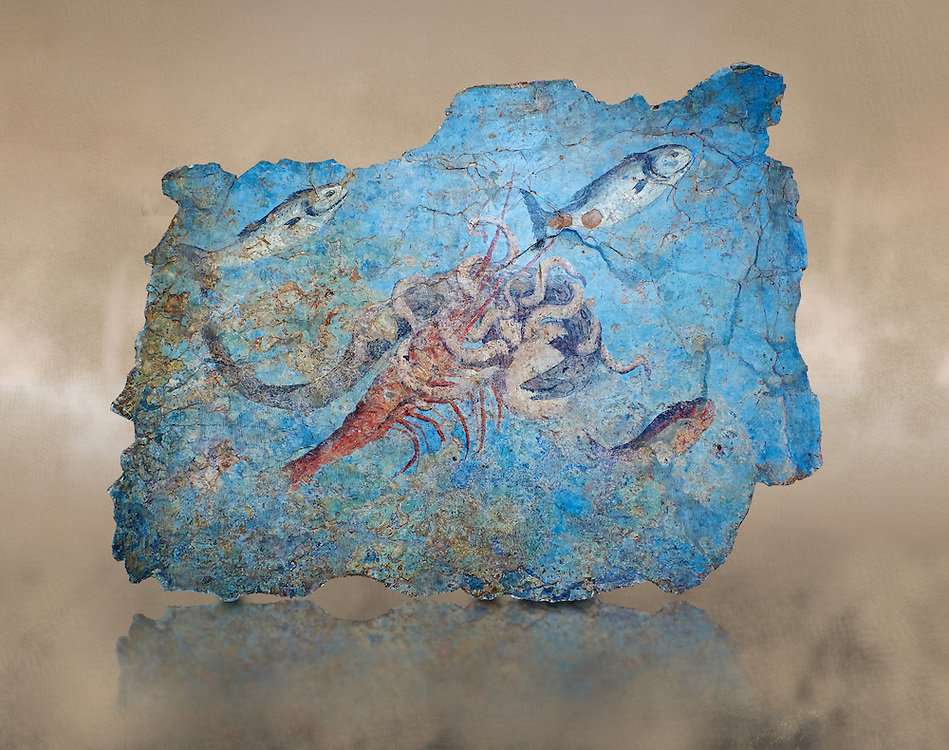 Roman Fresco with a fight scene between octopus, lobster and eel, 125-150 AD. (mosaico fauna marina da porto fluviale di san paolo), museo nazionale romano ( National Roman Museum), Rome, Italy. inv. 463Z4.  Against an art background.<br /> <br /> Excavated from the Porto di San Paolo near the Via Portuense, these frescoes decorated the thermal area of a suburban Roman Villa. The reconstructed fresco fragments, depict a group of three fighting animals: an octopus (octopus vulgaris) clutches a moray eel (muraena helena) and a lobster (palinurus vulgaris) in its tentacles; around them mud mullets (mullus barbatus) and rock mullets (mullus surmuletus) try to escape. Incriptions on the frescoes suggesy that the villa owner was from Alexandria where this style of nautical mosaic and fresco  decorations is found. .<br /> <br /> If you prefer to buy from our ALAMY PHOTO LIBRARY  Collection visit : https://www.alamy.com/portfolio/paul-williams-funkystock/national-roman-museum-rome-fresco.html<br /> <br /> Visit our ROMAN ART & HISTORIC SITES PHOTO COLLECTIONS for more photos to download or buy as wall art prints https://funkystock.photoshelter.com/gallery-collection/The-Romans-Art-Artefacts-Antiquities-Historic-Sites-Pictures-Images/C0000r2uLJJo9_s0