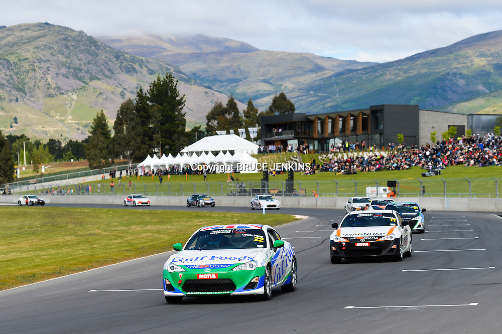 Angus Fogg leads Tom Alexander in race 1 of the TR 86 series at Highlands Park, Sat 9 November 2013. TR 86 Round One at Highlands Motorsport Park, Cromwell