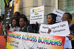London, September 30th 2015. LGBT protesters demonstrate outside the Nigerian High Commission in London  demanding the repeal of the country's anti-LGBT laws, handing over a petition with over 65,000 signatures demanding that President Muhammadu Buhari  upholds LGBTI human rights.