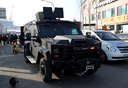 A security vehicle outside the PyeongChang Olympic Stadium, ahead of the PyeongChang 2018 Winter Olympic Games Opening Ceremony in South Korea.