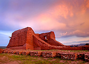 Sunset on mission ruins, Pecos National Historical Park, north east of Santa Fe, New Mexico. Full name of the church ruin is Mission Nuestra Señora de los Ángeles de Porciúncula de los Pecos.
