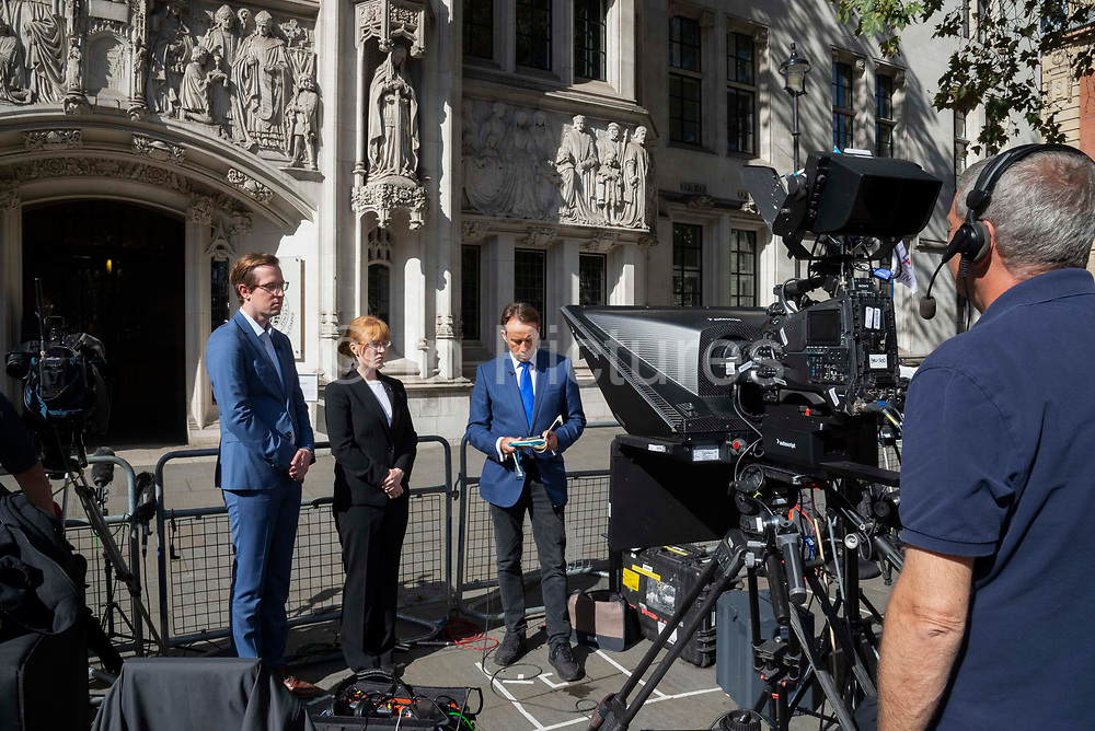BBC broadcaster Ben Brown interviewing lawyers outside the Supreme Court on day three of the hearing to rule on the suspension of parliament. Supreme Court judges will decide if Prime Minister Boris Johnson acted unlawfully in advising the Queen to prorogue parliament, on September 19th 2019 in London, United Kingdom.