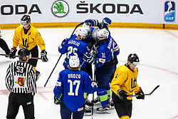 Players of Slovenia celebrate during ice hockey match between Slovenia and Lithuania at IIHF World Championship DIV. I Group A Kazakhstan 2019, on May 5, 2019 in Barys Arena, Nur-Sultan, Kazakhstan. Photo by Matic Klansek Velej / Sportida