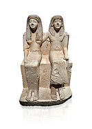 Ancient Roman statue of Pendua and his wife Nefertari, limestone, New Kingdom, 19th Dynasty, (1292-1186 BC),  Deir-el-Medina, Thebes. Egyptian Museum, Turin. white background.<br /> <br />  Carved in Thebian white limestone the statue of Pendua and his wife Nefertari shows the skill and attention to details of the sculptors of Deir-el-Medina, the worker's village of those who built the Royal Tombs at Thebes. The theme of the family is echoed by a carving of a daughter between the two figures. .<br /> <br /> If you prefer to buy from our ALAMY PHOTO LIBRARY  Collection visit : https://www.alamy.com/portfolio/paul-williams-funkystock/ancient-egyptian-art-artefacts.html  . Type -   Turin   - into the LOWER SEARCH WITHIN GALLERY box. Refine search by adding background colour, subject etc<br /> <br /> Visit our ANCIENT WORLD PHOTO COLLECTIONS for more photos to download or buy as wall art prints https://funkystock.photoshelter.com/gallery-collection/Ancient-World-Art-Antiquities-Historic-Sites-Pictures-Images-of/C00006u26yqSkDOM