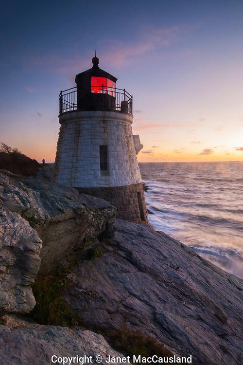Castle Hill lighthouse at sunset, Newport, RI.