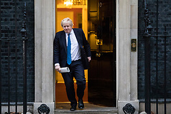 © Licensed to London News Pictures. 08/01/2018. London, UK. Foreign Secretary Boris Johnson leaves 10 Downing Street as Prime Minister Theresa May reshuffles the Cabinet. Photo credit: Rob Pinney/LNP