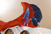 barrel aging cellar bull fight wall painting dom g robin crozes hermitage rhone france