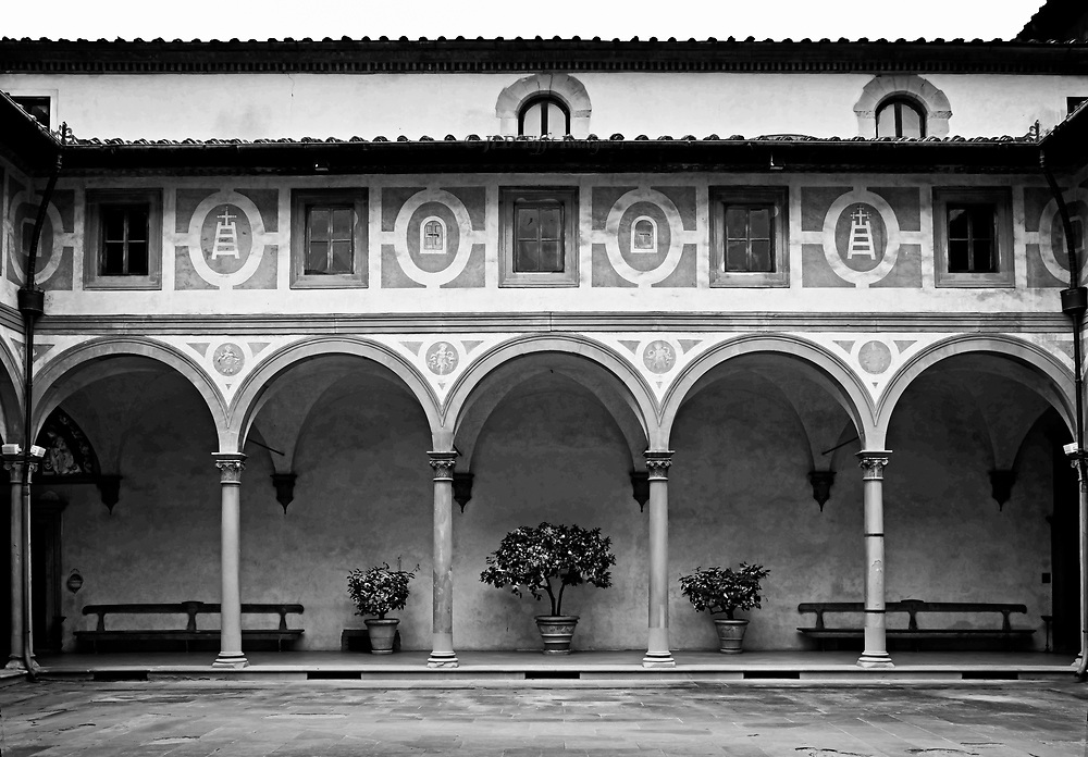 Early Renaissance architecture: the key figure is Filippo Brunelleschi.  His Ospedale degli Innocenti (Foundling Hospital, (1419–ca.1445), is the first major monument of his elegant classical style with its arches and colonnades.  This is the courtyard inside.
