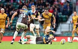Rhodri Williams of Bristol Rugby pushes Danny Care of Harlequins - Mandatory by-line: Robbie Stephenson/JMP - 03/09/2016 - RUGBY - Twickenham - London, England - Harlequins v Bristol Rugby - Aviva Premiership London Double Header