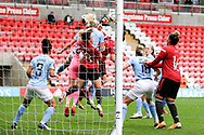 Manchester City goalkeeper Ellie Roebuck (26) punches clear during the FA Women's Super League match between Manchester United Women and Manchester City Women at Leigh Sports Village, Leigh, United Kingdom on 14 November 2020.