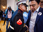 27 APRIL 2019 - STUART, IOWA: ANDREW YANG, candidate for the Democratic nomination for the US presidency, right, talks to MANUEL VALENZUELA, a former US Marine, at the Reaching Rural Voters Forum in Stuart. The forum was an outreach by Democrats in Iowa's 3rd Congressional District to mobilize Democratic voters statewide. Iowa saw one of the largest shifts from Democrats to Republicans in the 2016 Presidential election and Trump won the state by double digits. Republicans control the governor's office and both chambers of the Iowa legislature. Iowa traditionally hosts the the first selection event of the presidential election cycle. The Iowa Caucuses will be on Feb. 3, 2020.                                   PHOTO BY JACK KURTZ