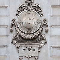 MILAN, ITALY - JUNE 07: A decorated stone emblem at Banca d'Italia on June 7, 2010 in Milan, Italy. Today the Italian stock market suffered new losses in particular the banking sector and the Euro falls below $1.19, the lowest in over 4 years  (Photo by Marco Secchi/Getty Images)