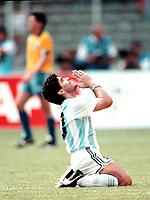 1990 - FOOTBAL WORLD CUP ITALY'90 - DIEGO MARADONA PThe Argentine player DIEGO AMRADONA PRAY after win the CLASSICAL match ARGENTINA Vs. BRAZIL.<br />© Gabriel Piko / Argenpress