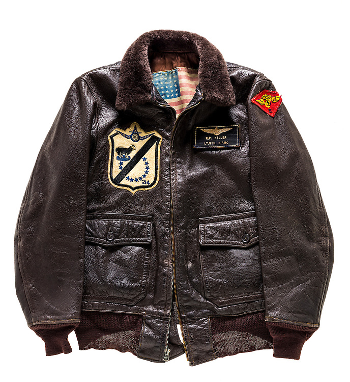 This jacket belonged to Major (later Lieutenant General) R.P. Keller, when he commanded the Black Sheep of Marine Fighter Squadron (VMF) 214, operating from the escort carrier Sicily (CVE-118) off Korea.  Note the blood chit sewn into the lining.  Courtesy of the National Naval Aviation Museum in Pensacola, Florida.