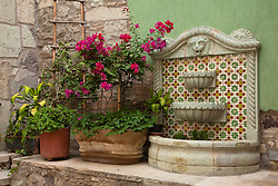 North America, Mexico, Guanajuato State, Guanajuato, plants, bouganvilla flowers, and tile fountain in hotel courtyard.  The historic city of Guanajuato is a UNESCO World Heritage Site.  PR