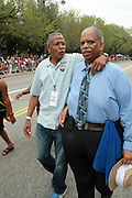 September 3, 2012- Brooklyn, New York: (L-R) New York City Council  Members Robert Jackson and Leroy Comrie attend the 45th Annual West Indian Day Labor Day Celebration held on September 3, 2012 along Brooklyn's famed Eastern Parkway. It's one of New York City's most popular parades, a cultural festival that celebrates West Indian history, culture, music and food. Attended by as many as two million people. (Photo by Terrence Jennings)