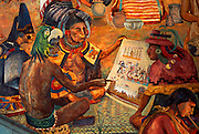 MEXICO, SOUTH, OAXACA STATE Oaxaca, Governors Palace with mural of Oaxacan history shows Mixtec Indian scholars reading codices