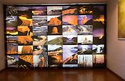 Display photos of volcanoes, Casa de los Volcanes volcanic study centre, Lanzarote, Canary island, Spain