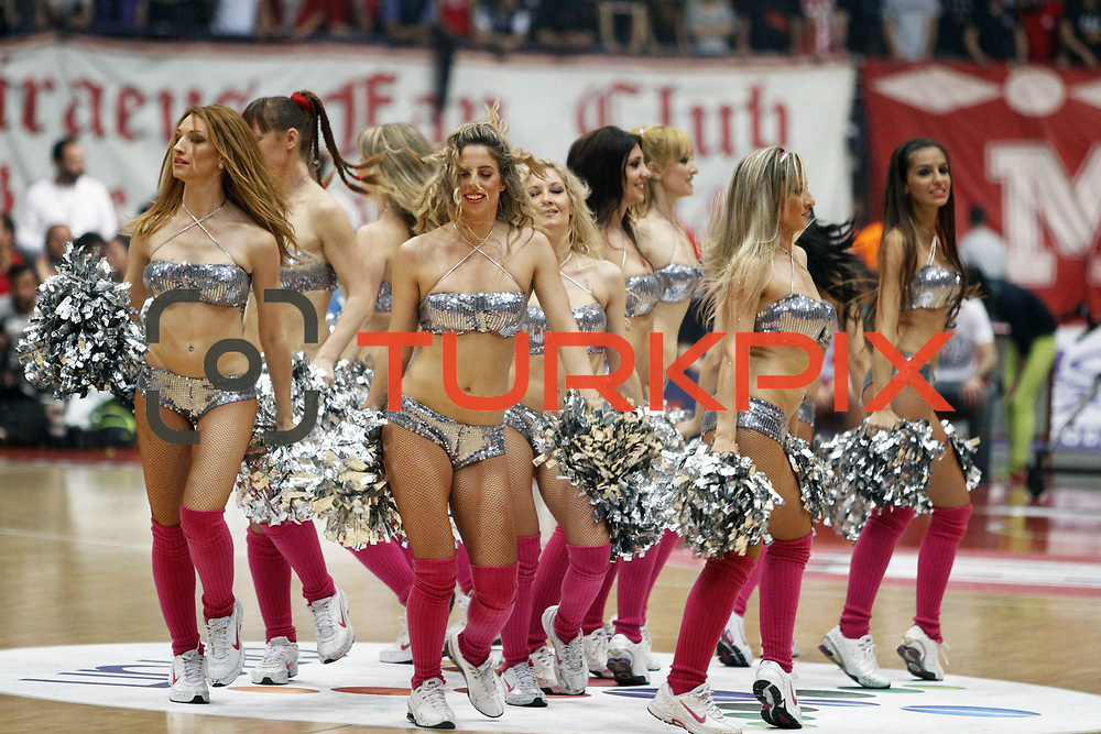 Olympiacos's show girls during their Turkish Airlines Euroleague Basketball playoffs Game 5 Olympiacos between Anadolu Efes at SEF Indoor Hall in Piraeus, in Greece, Friday, April 26, 2013. Photo by TURKPIX