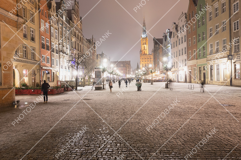 Gdansk at night with people