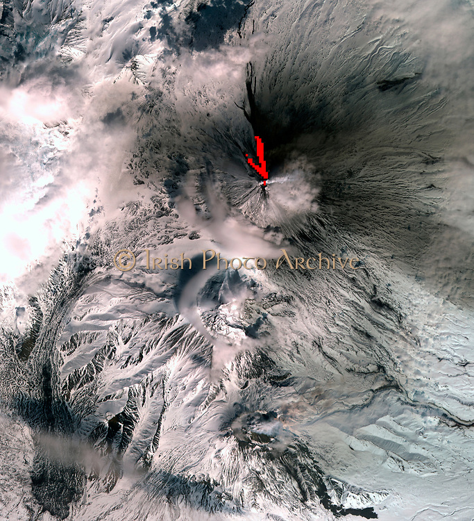 One of the most volcanically active regions of the world, Kamchatka Peninsula in eastern Siberia, Russia. April 26, 2007. Satellite image.